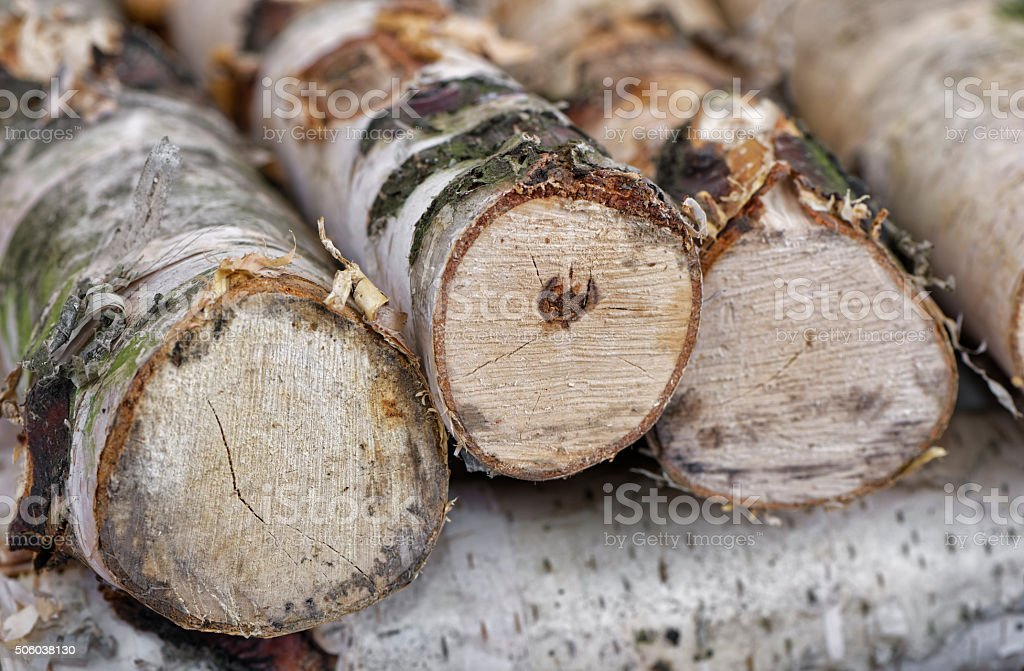 Birch firewood close up. stock photo