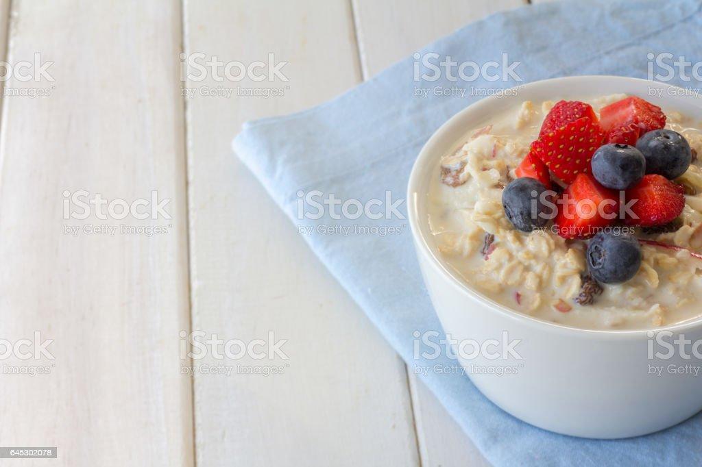 Bircher Muesli with Berries Horizontal stock photo