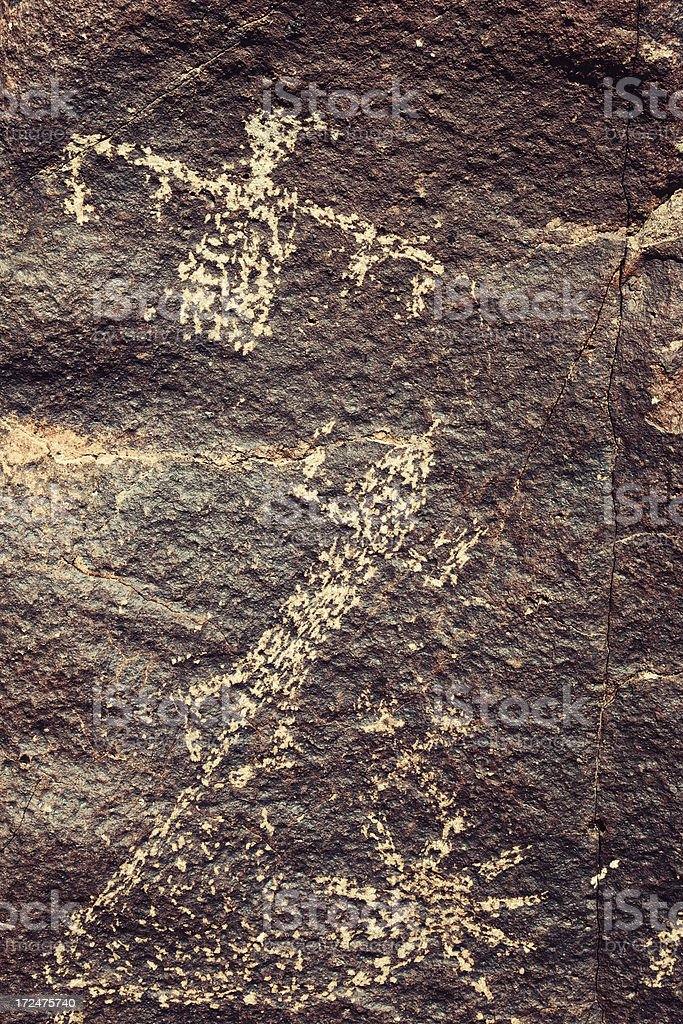 Bird and Frog Pictograph - Three Rivers Petroglyph Site royalty-free stock photo