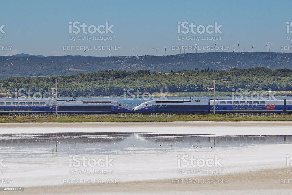 TGV, bird and wind power stock photo