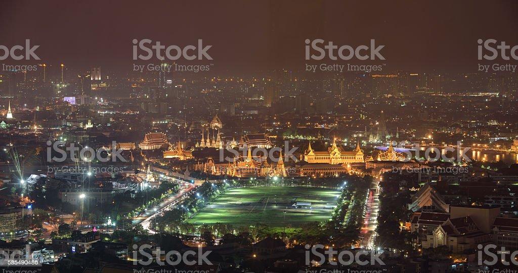 Bird eye view, Grand palace at night in Bangkok, Thailand stock photo