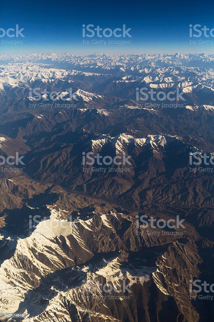 bird eye view of Himalaya, Leh Ladakh stock photo