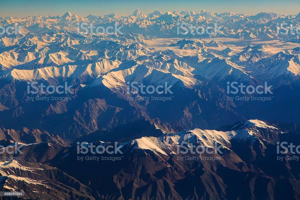 bird eye view of Himalaya,Leh Ladakh stock photo