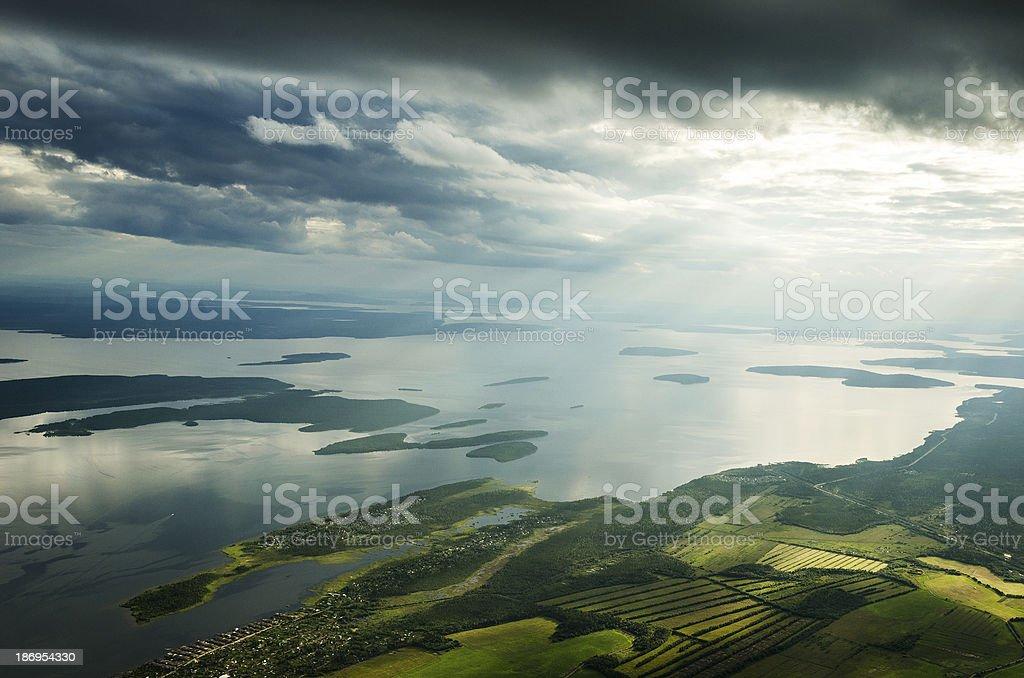 Bird eye view on lake royalty-free stock photo