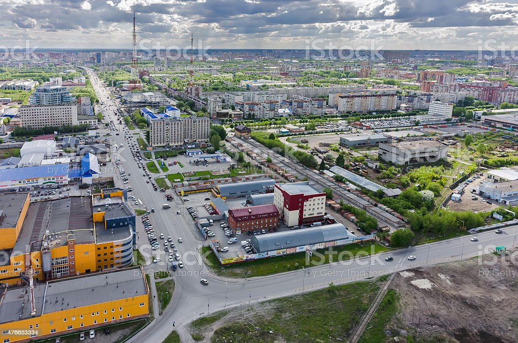 Bird eye view on Permyakova street. Tyumen. Russia stock photo