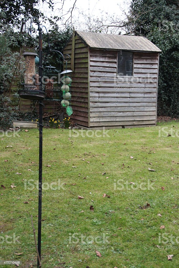 bird feeder stand stock photo