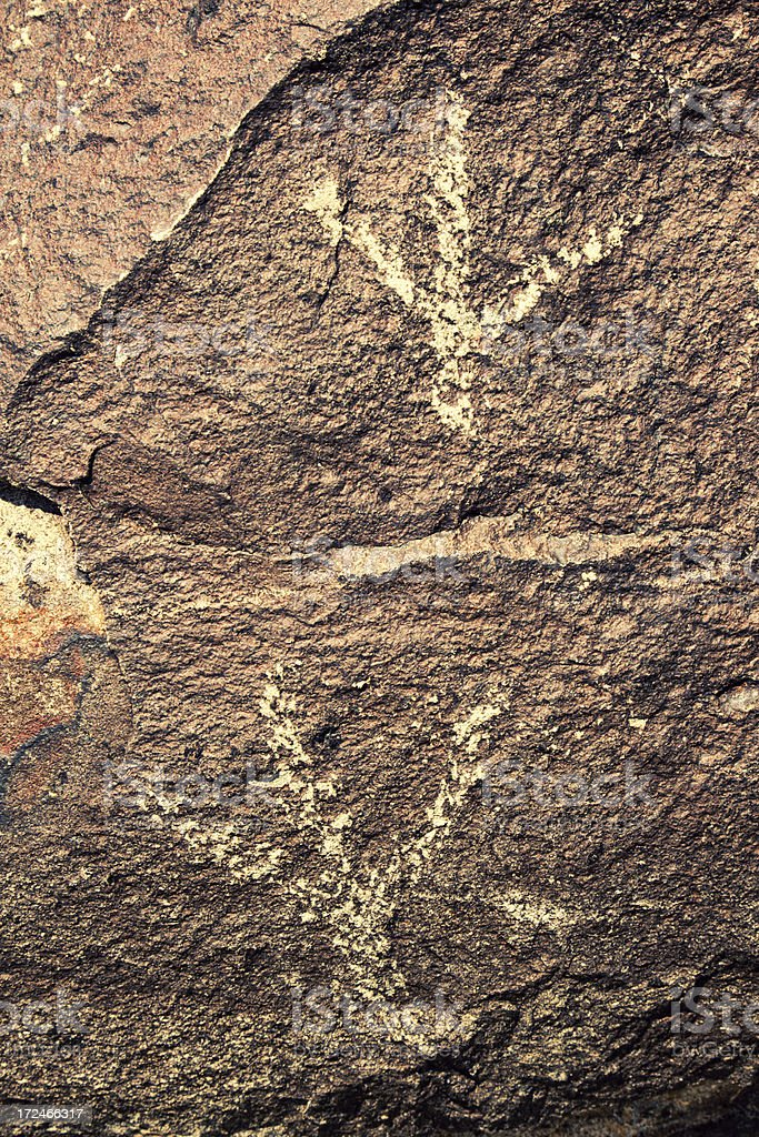 Bird Footprints Pictograph - Three Rivers Petroglyph Site royalty-free stock photo
