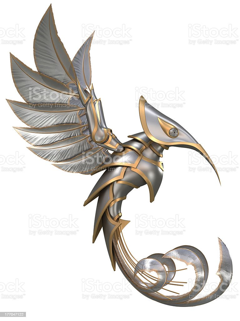 Bird made of steel elements from a knights outfit stock photo
