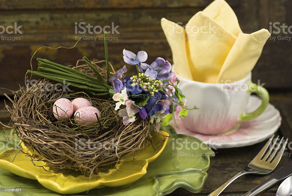 Bird nest place setting royalty-free stock photo