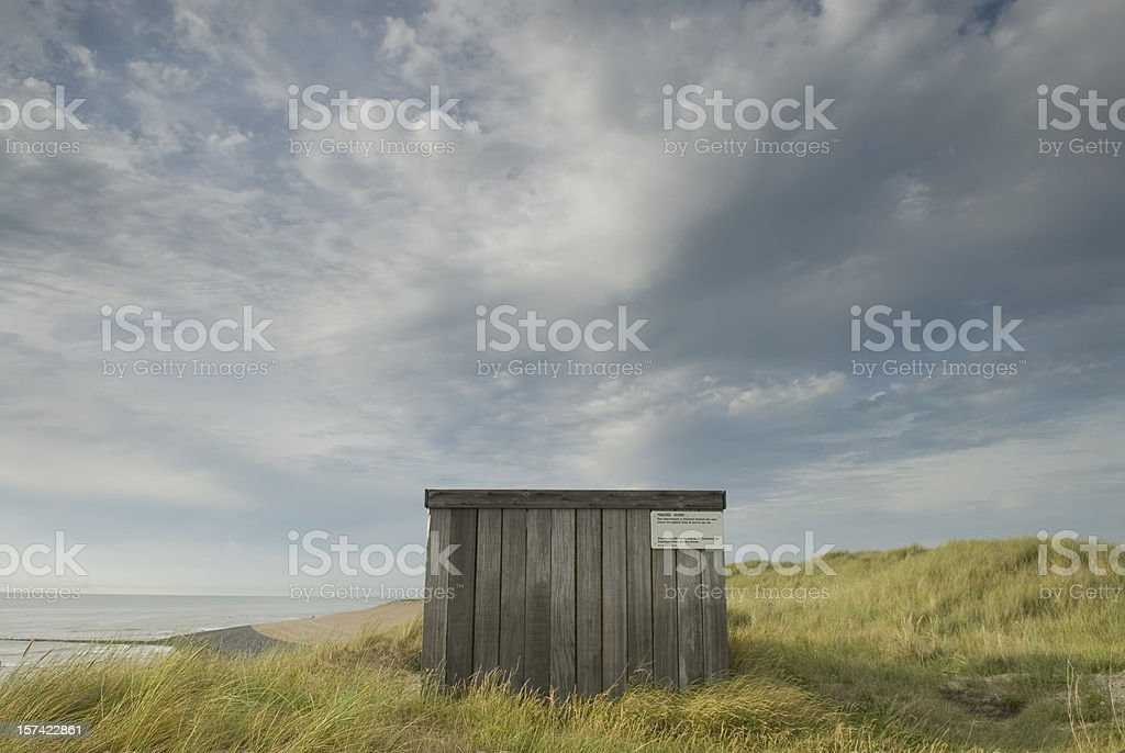Bird observation point in the dunes stock photo