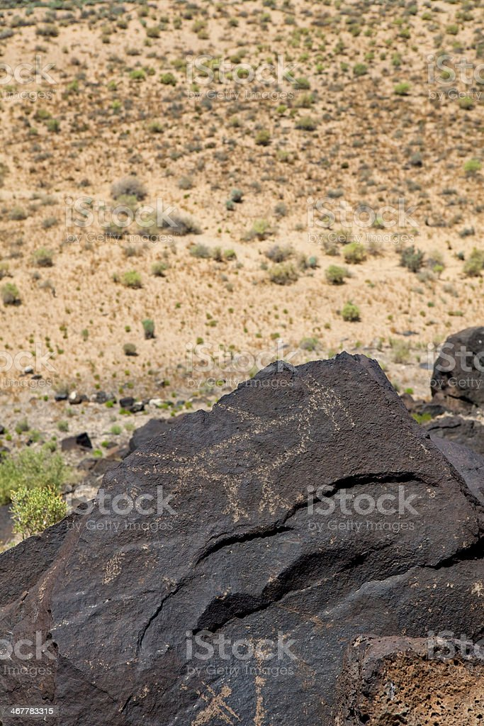 Bird Pictogram - Petroglyph National Monument royalty-free stock photo