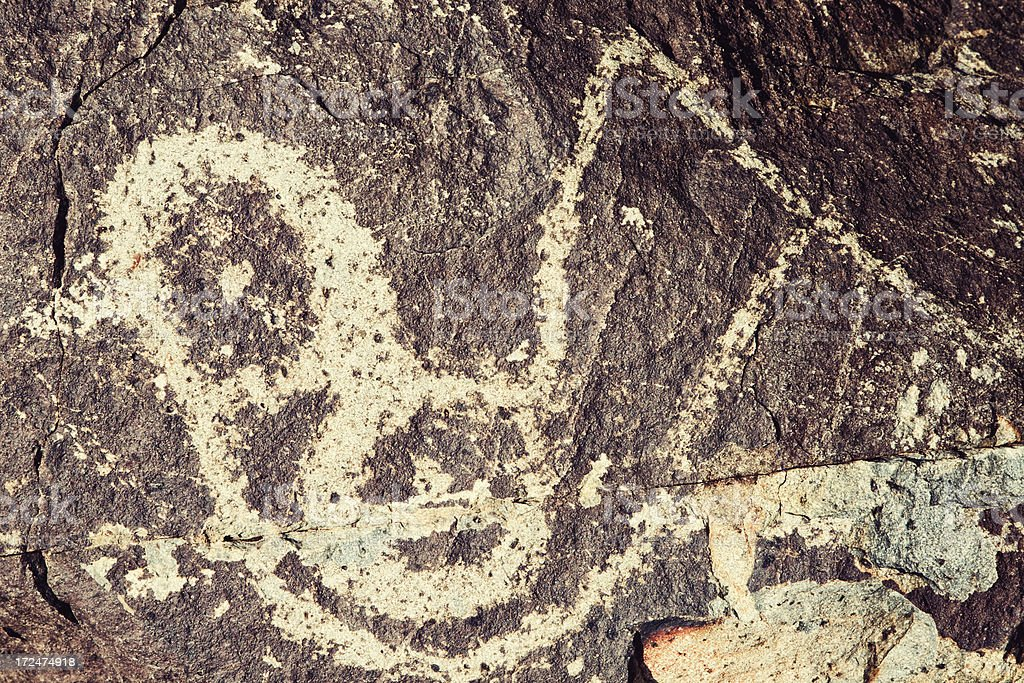 Bird Pictograph - Three Rivers Petroglyph Site royalty-free stock photo