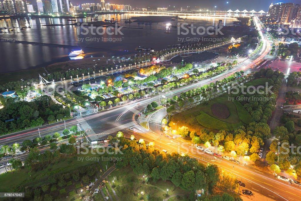 Bird view at Nanchang China. stock photo
