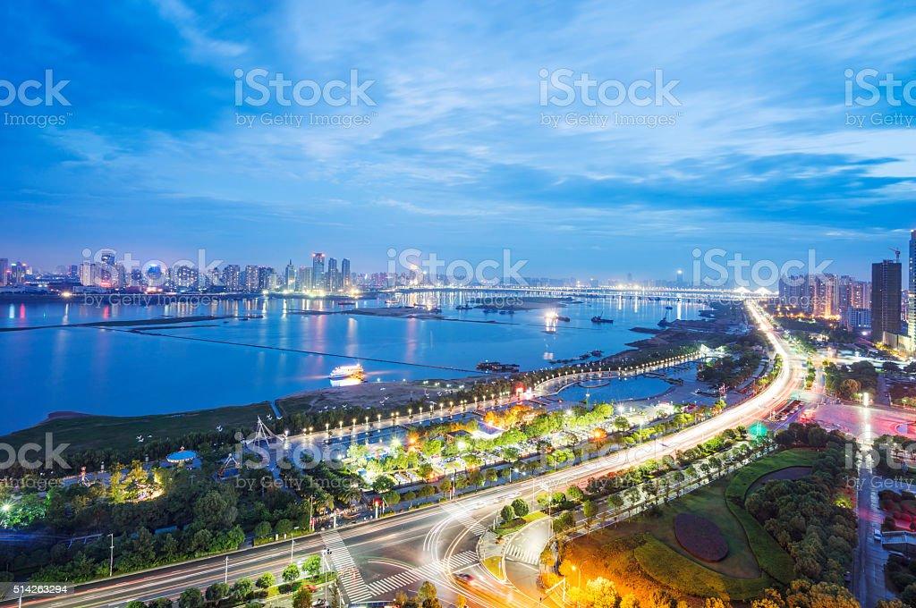 Bird view at Wuhan China stock photo