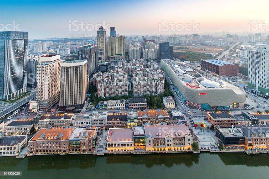 Bird view at Wuhan China. stock photo