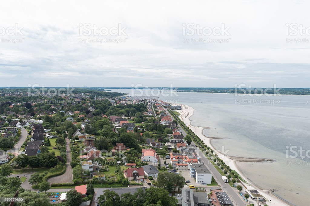 bird view in laboe west towards Kiel stock photo