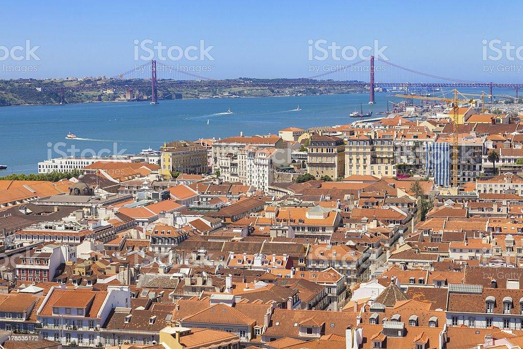 Bird view of Lisboa downtown royalty-free stock photo