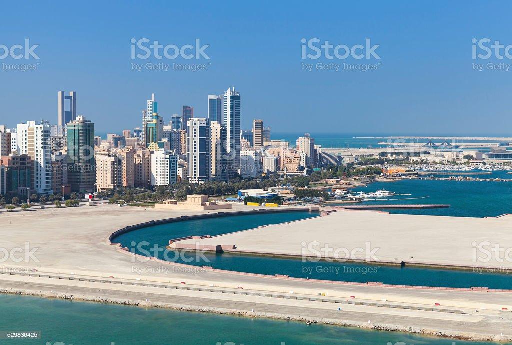 Bird view of Manama city, Bahrain stock photo