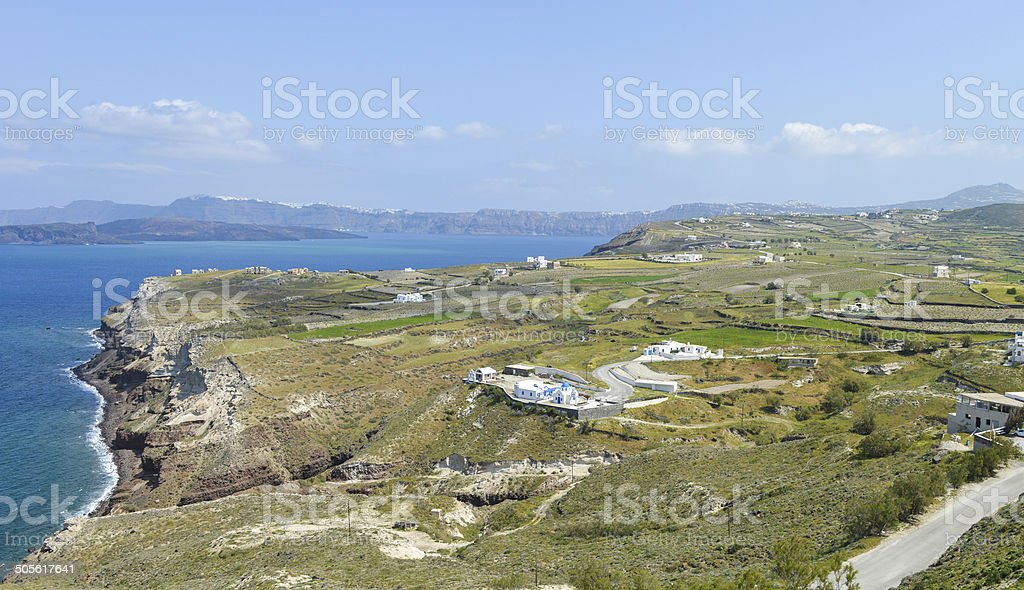 Bird view of Santorini island royalty-free stock photo