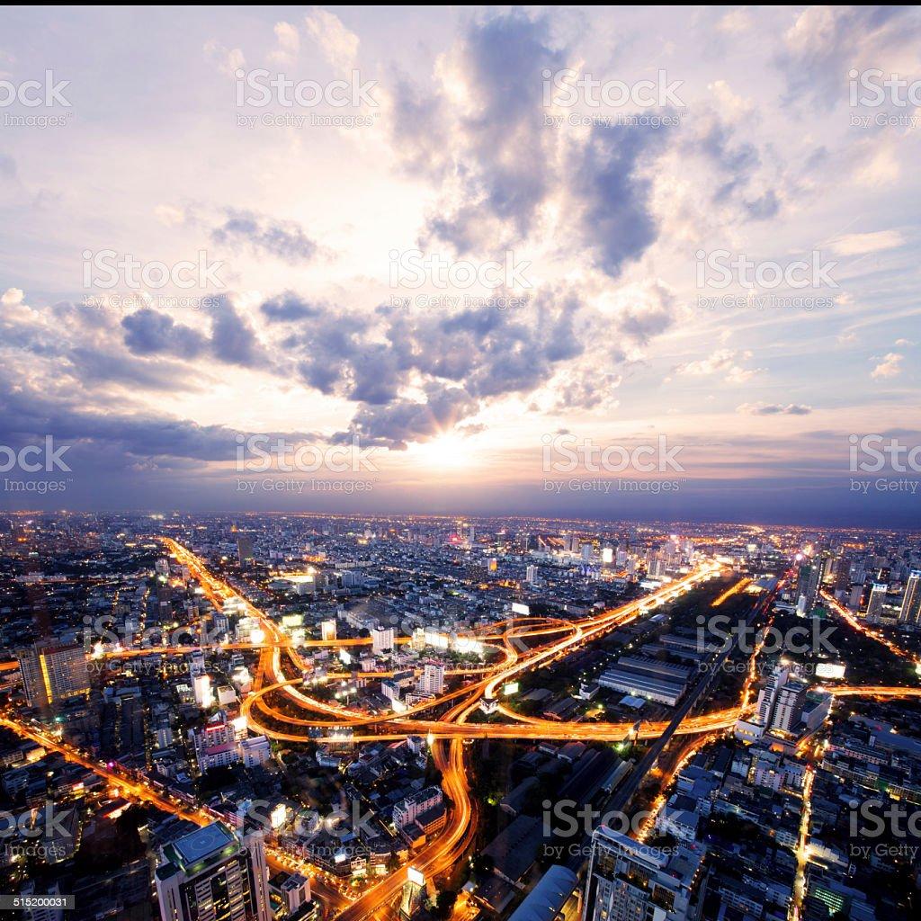 bird view of urban city traffic light trai stock photo