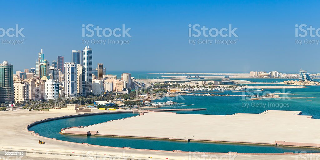 Bird view panorama of Manama city, Bahrain stock photo