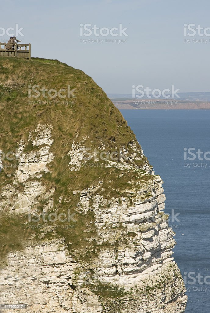 Bird Watching at Bempton stock photo