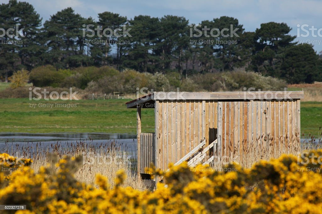 Bird Watching Hide on marshes stock photo