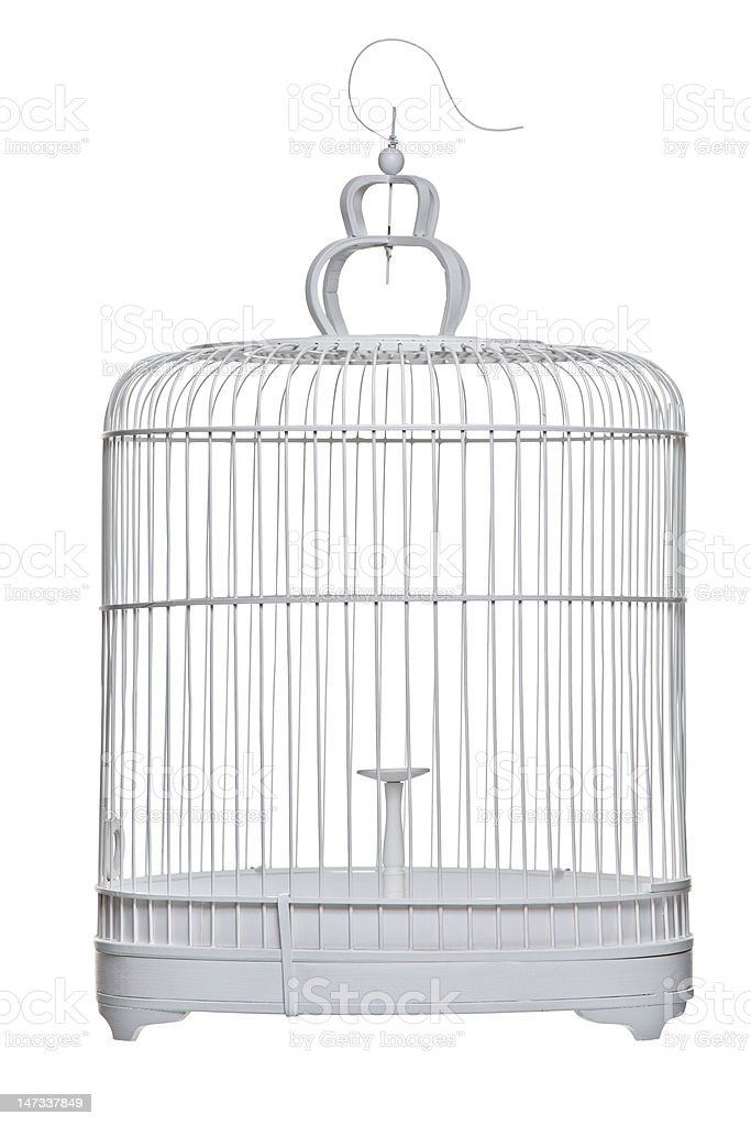 Birdcage isolated on a white background royalty-free stock photo