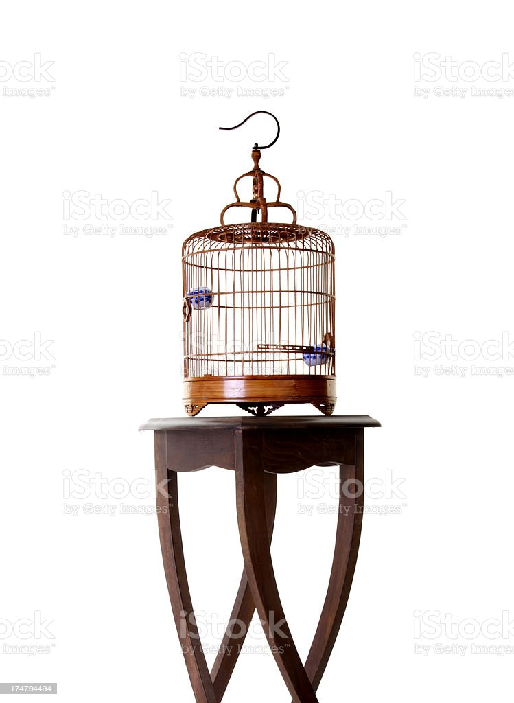 birdcage on table royalty-free stock photo