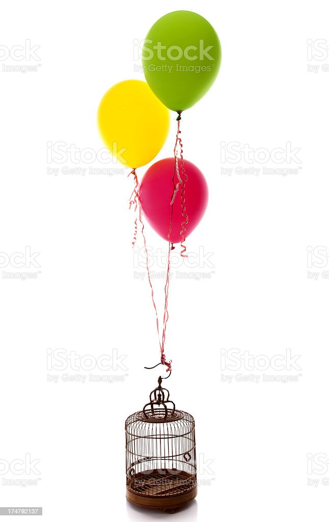 birdcage with flying balloon royalty-free stock photo