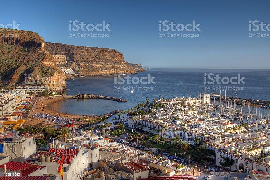 Bird-eye view of Puerto de Mogan, Gran Canaria, Spain stock photo