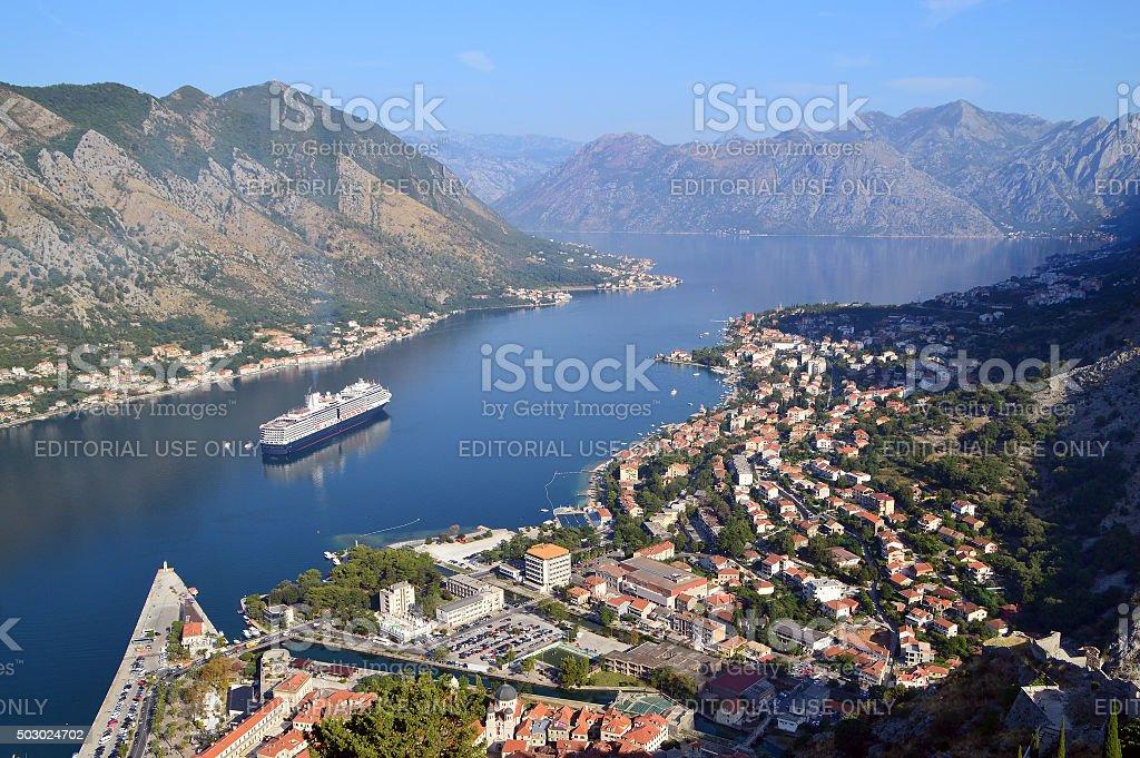 Birdeye view of the town of Kotor in Kotor bay stock photo