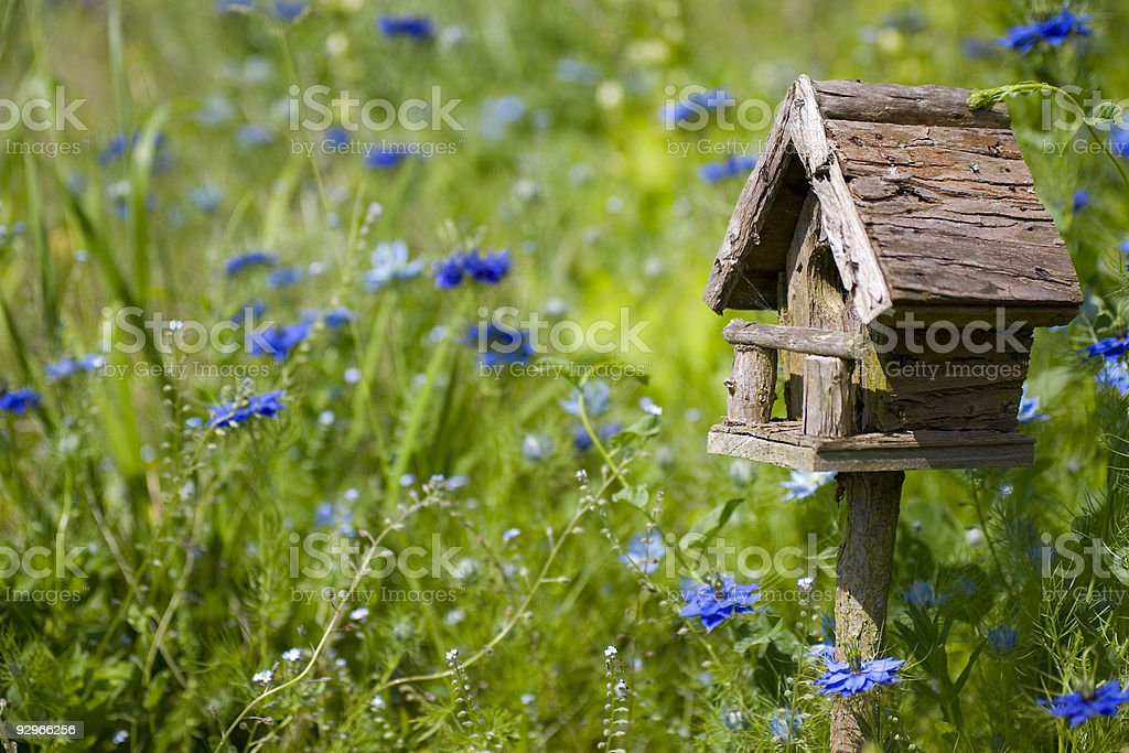 Birdhouse Among the Flowers royalty-free stock photo