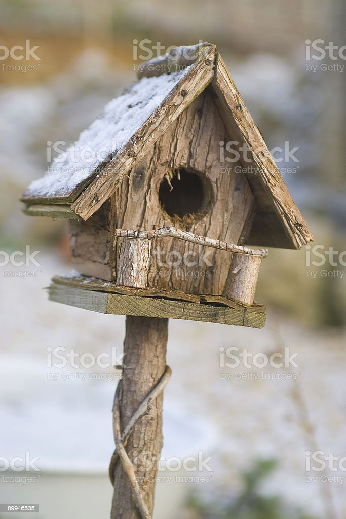 Birdhouse in the Snow royalty-free stock photo