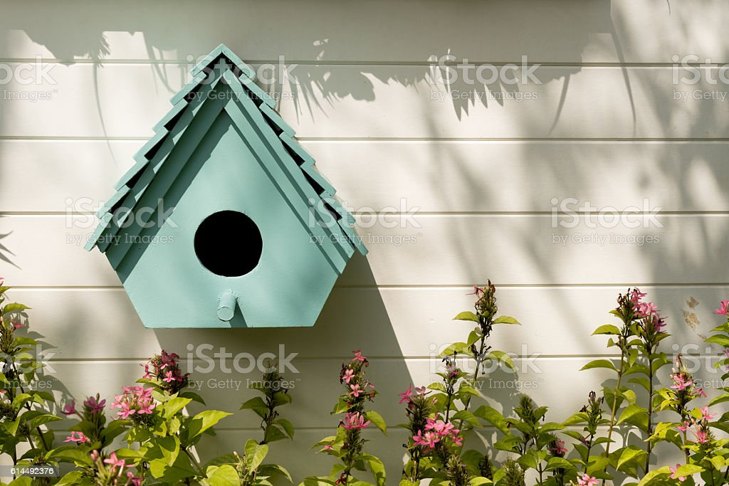 Birdhouses background. stock photo