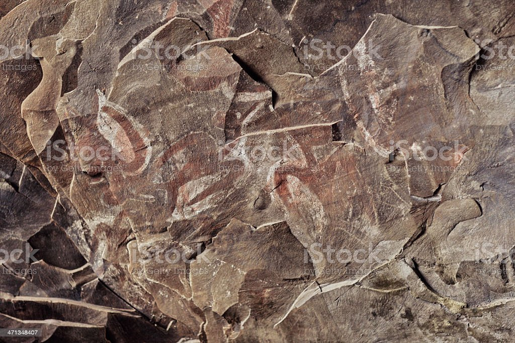 Birdmen Petroglyphs in Ana Kai Tangata - Easter Island stock photo