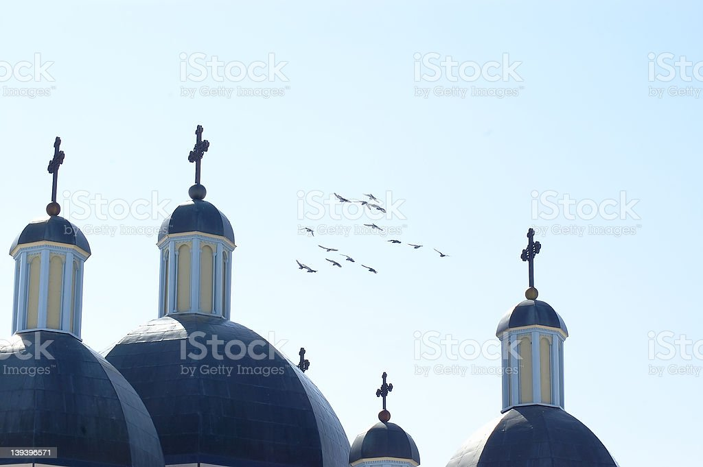 Birds and Crosses royalty-free stock photo