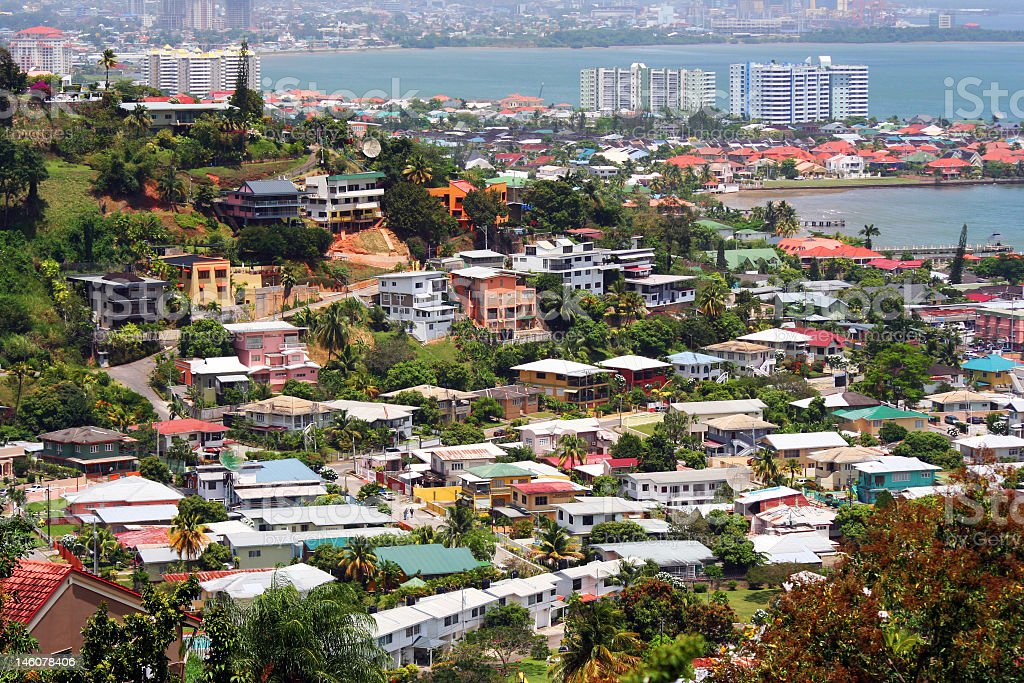 Birds eye landscape view of port of Spain stock photo
