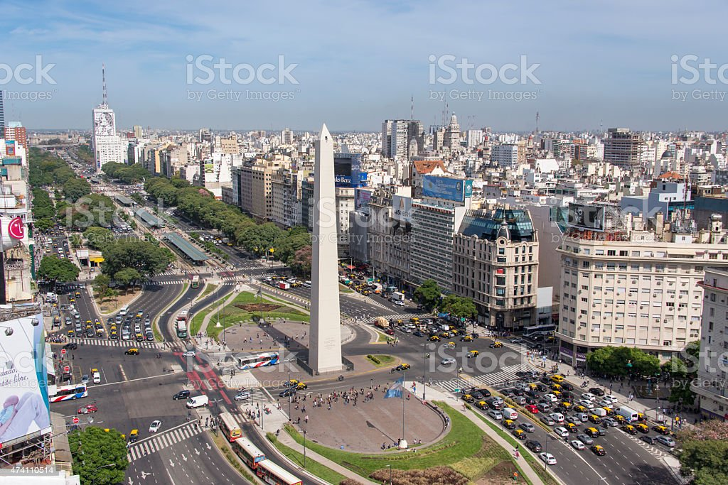 Birds eye of Avenida 9 de Julio in Buenos Aires stock photo
