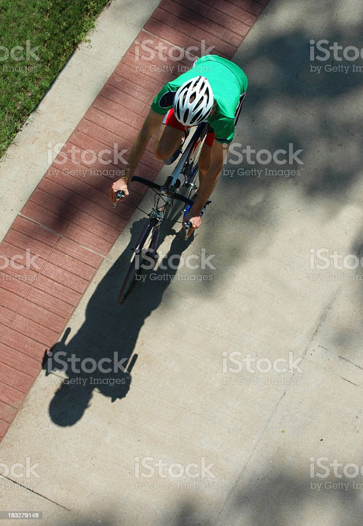 Bird's Eye View of a Bicyclist stock photo