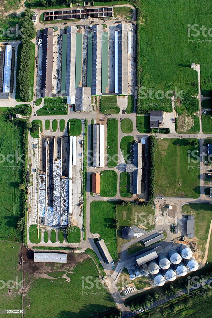 A birds eye view of an agricultural storage site stock photo