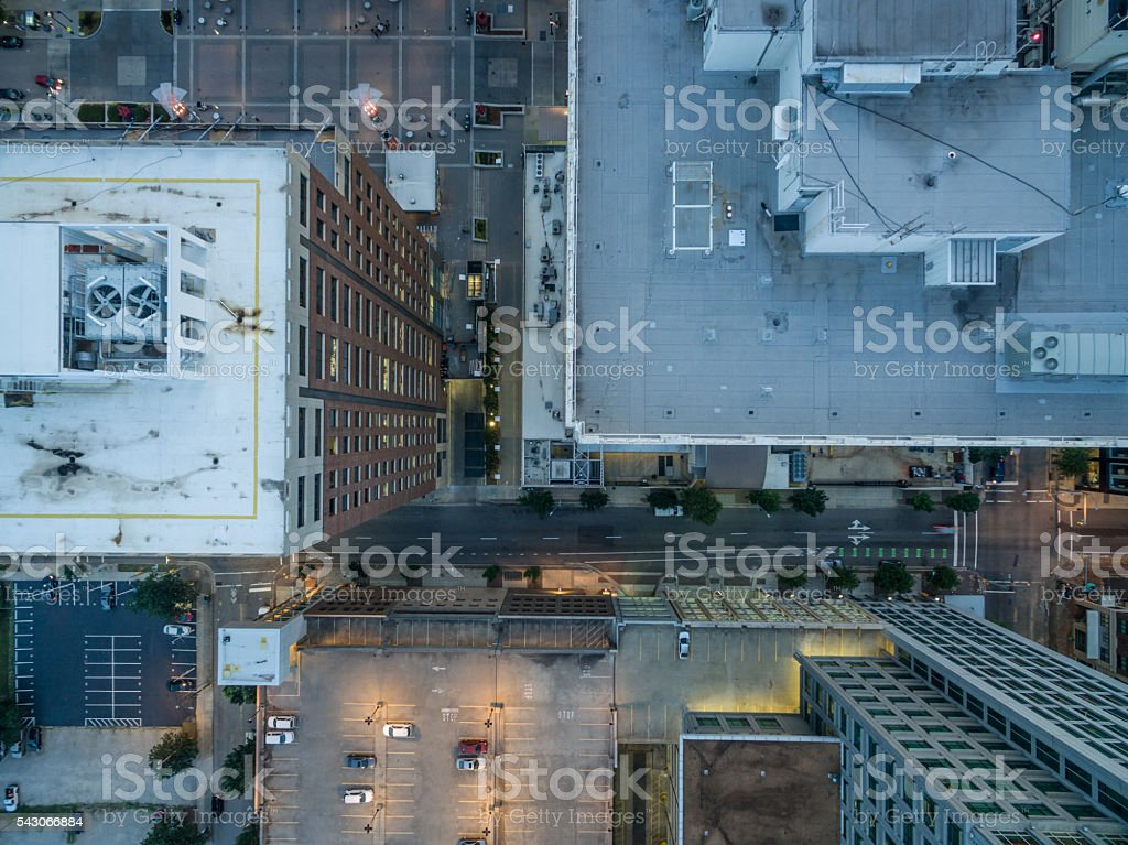 Bird's eye view of buildings and streets in downtown Raleigh. stock photo