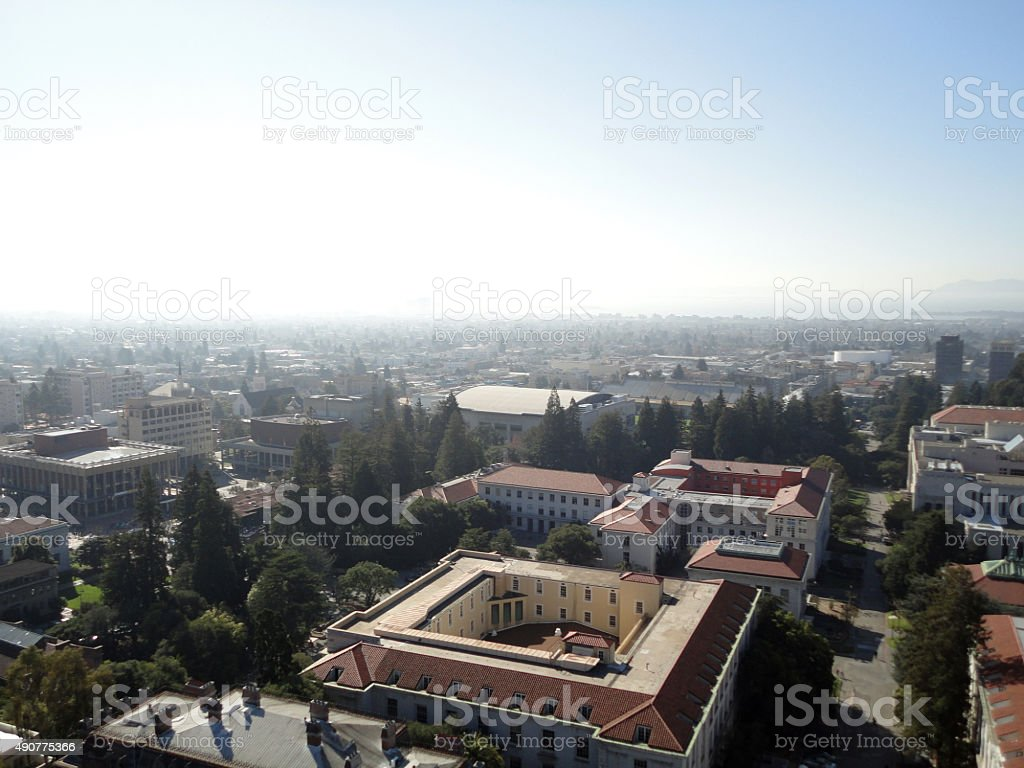 Birds eye view of Buildings of UC Berkeley Campus stock photo