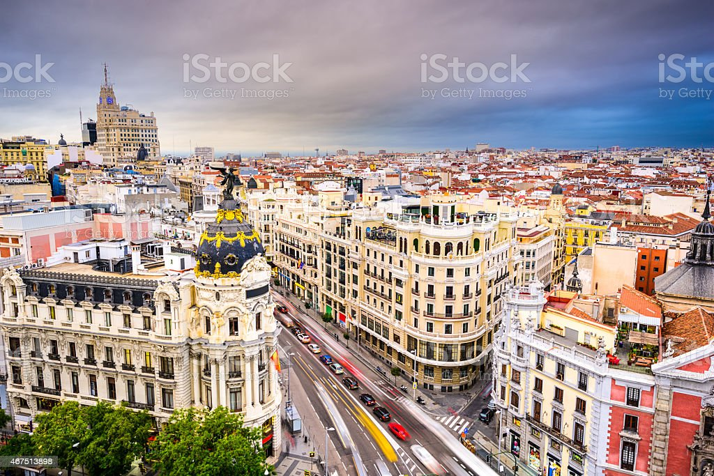 Birds eye view of cityscape of Madrid Spain stock photo