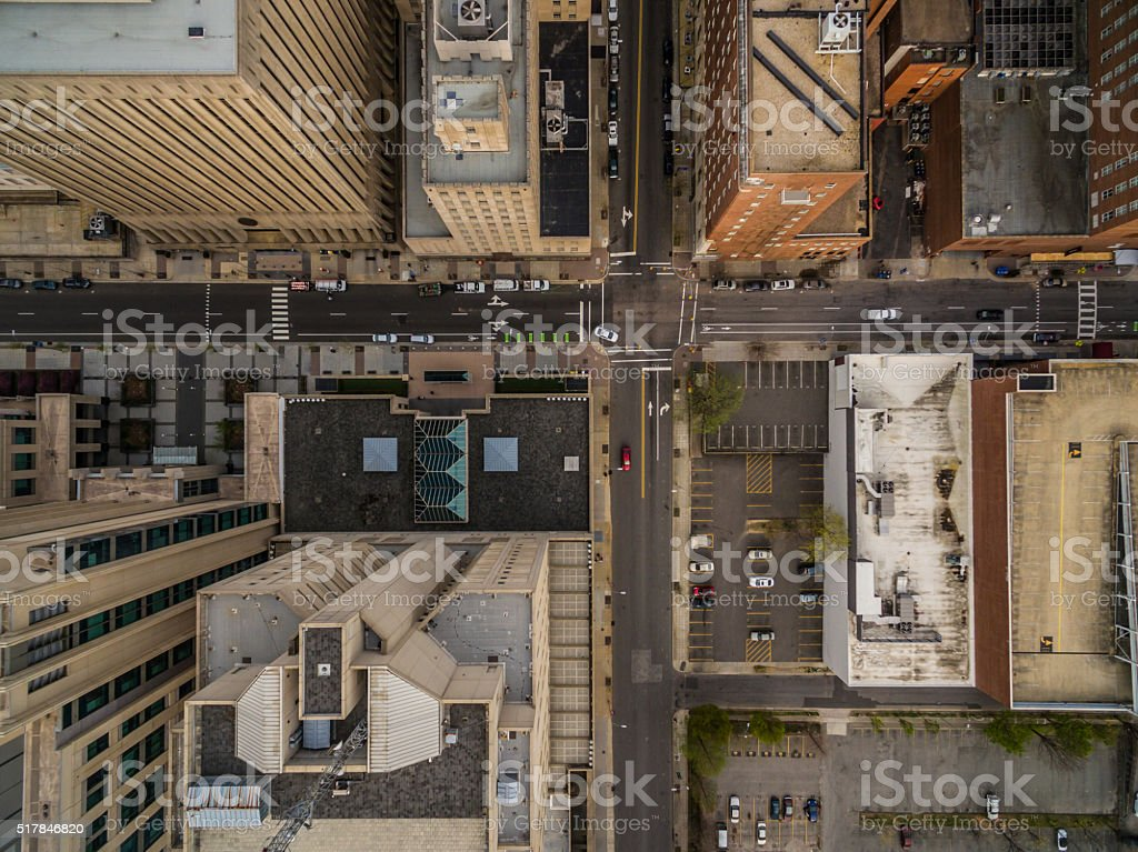 Bird's eye view of downtown Raleigh, NC. stock photo