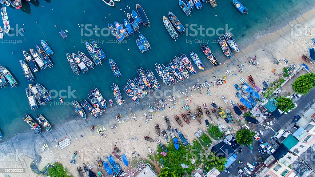 Bird's eye view of fishing market on beach, China stock photo