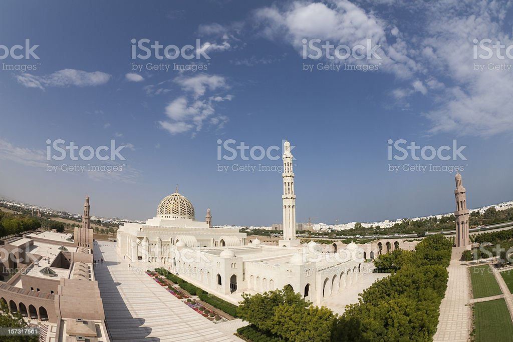 Birds eye view of Grand Mosque in Muscat royalty-free stock photo