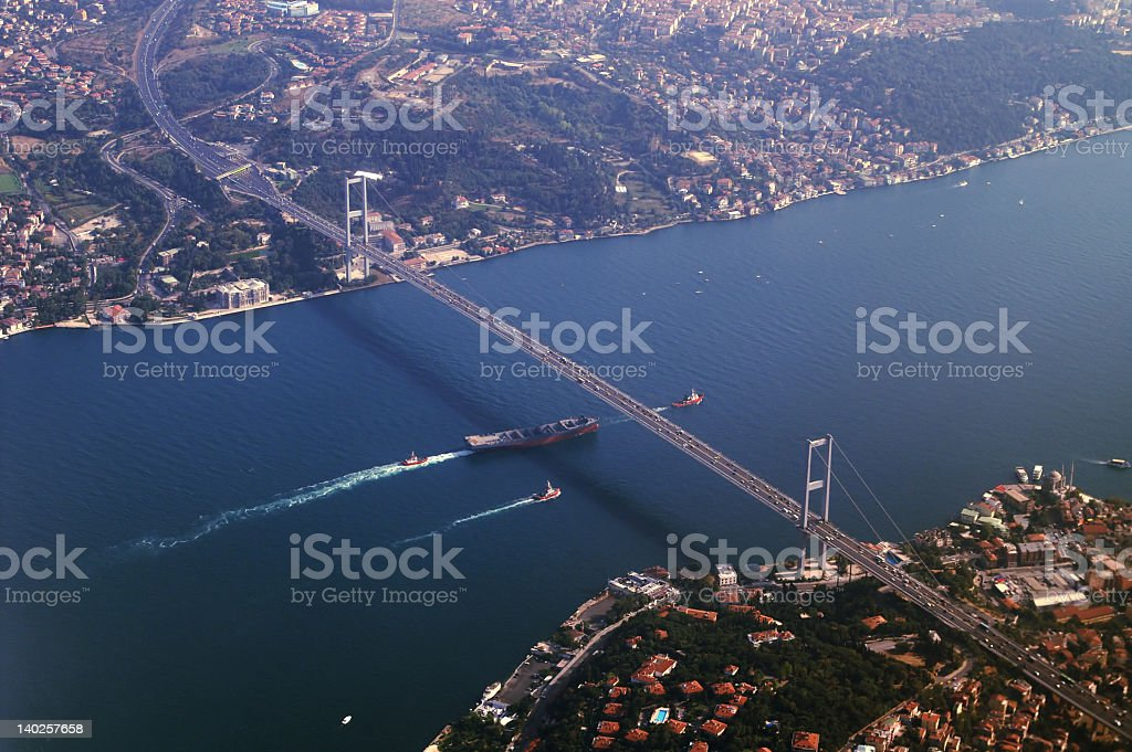 Birds eye view of large city and bridge  stock photo