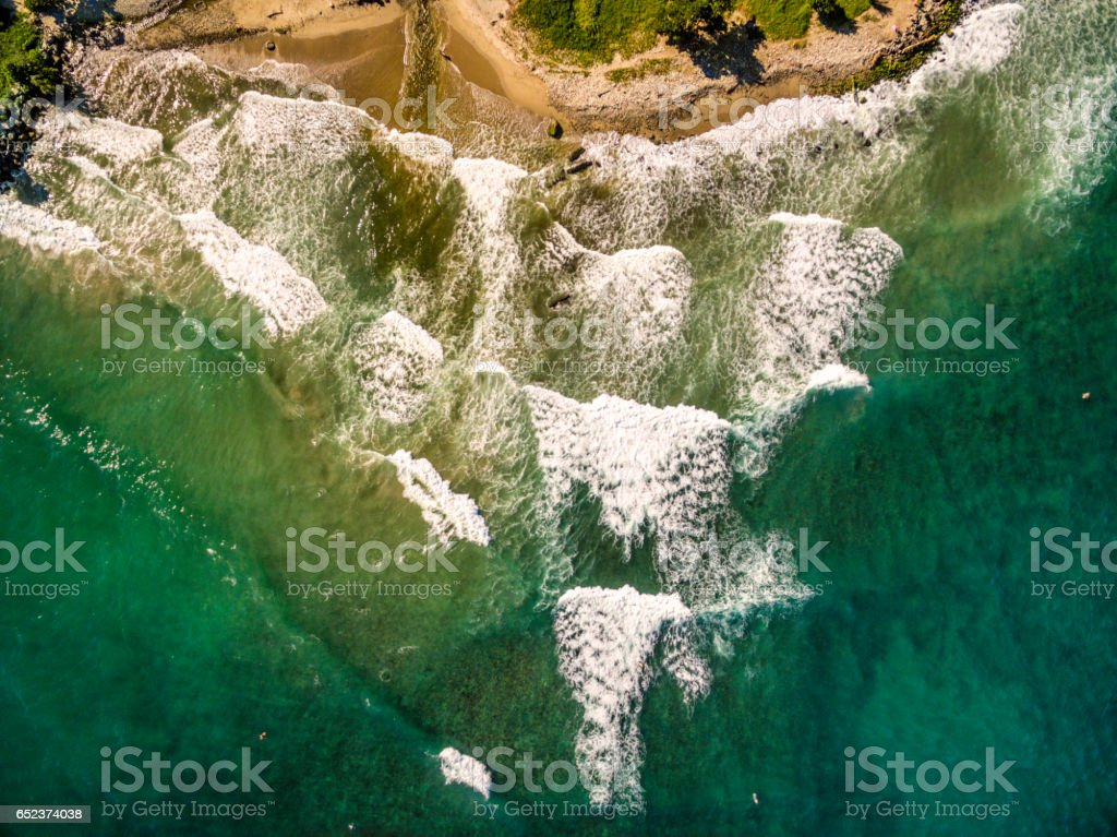 Bird's eye view of Los Caracas surfing beach, Vargas State, Venezuela taken from open ocean in the Caribbean sea. stock photo