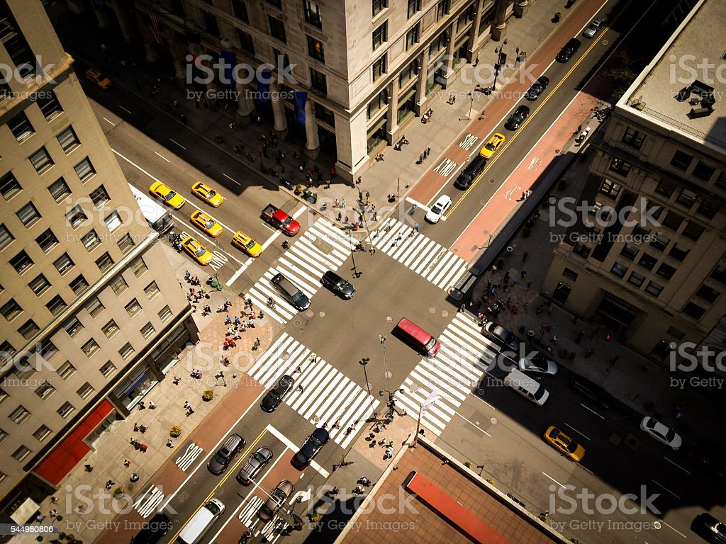 Bird's Eye View of Manhattan with Yellow Taxis stock photo